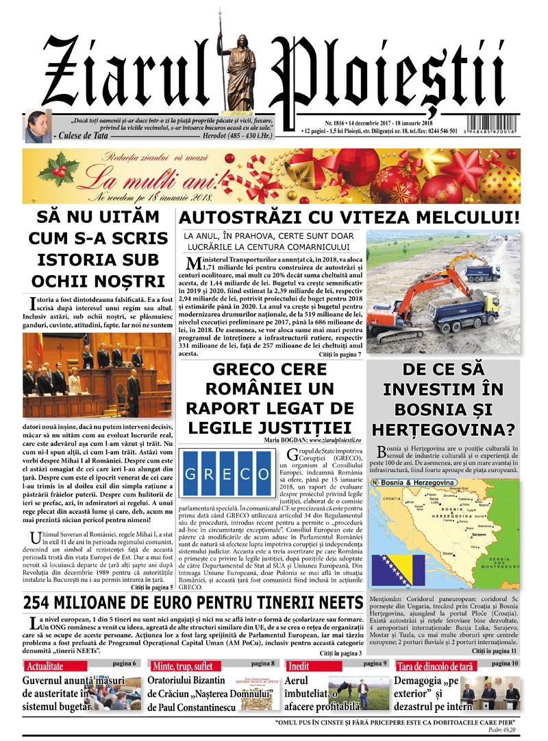 Nr. 1816 • 14 decembrie 2017 – 18 ianuarie 2018 • 12 pagini