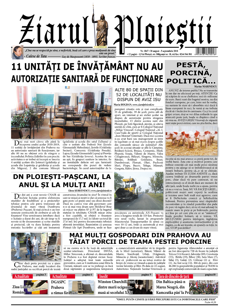Nr. 1847 • 30 august – 5 septembrie 2018 • 12 pagini
