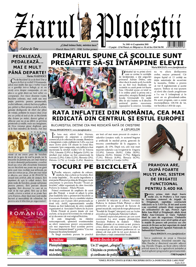 Nr. 1848 • 6 – 12 septembrie 2018 • 12 pagini