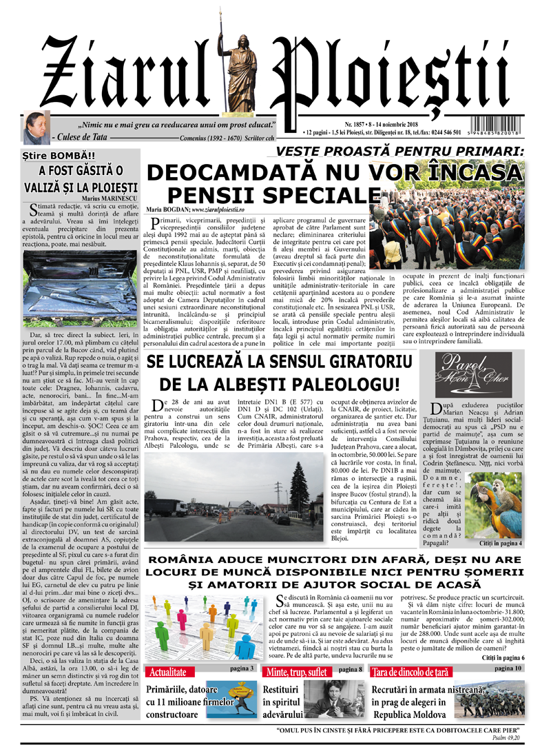Nr. 1856 • 1 – 7 noiembrie 2018 • 12 pagini