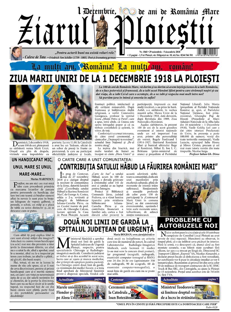 Nr. 1860 • 29 noiembrie – 5 decembrie 2018 • 12 pagini