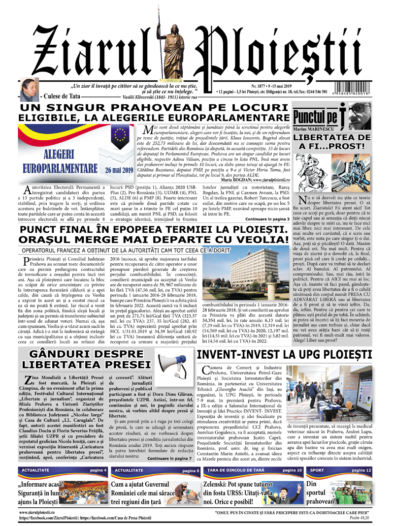 Nr. 1878 • 16 – 22 mai 2019 • 12 pagini